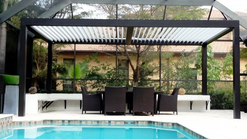 Powder Coated 202mm Aerofoil IP67 Aluminum Pergola